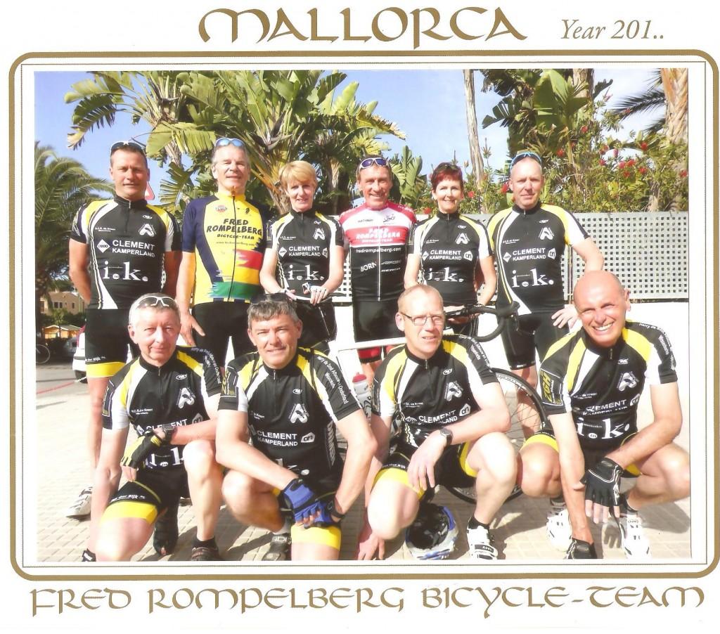 Achterste rij v.l.n.r.: Rob,Hans, Annemie, Fred Rompelberg, Yolanda en Thijs. Voorste rij v.l.n.r. Kees, Gerrit, Leo en Ko.