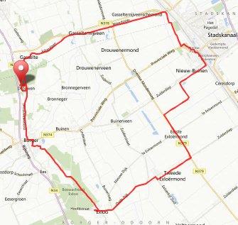 route vrijdag 3 mei clubweekend Drenthe