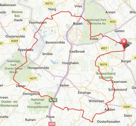 route zaterdag 4 mei clubweekend Drenthe