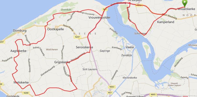 Rondje Walcheren ruim 61km en 32,5 gemiddeld