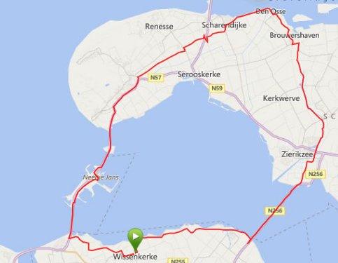 Rondje Schouwen 65 km en 29,8 gem