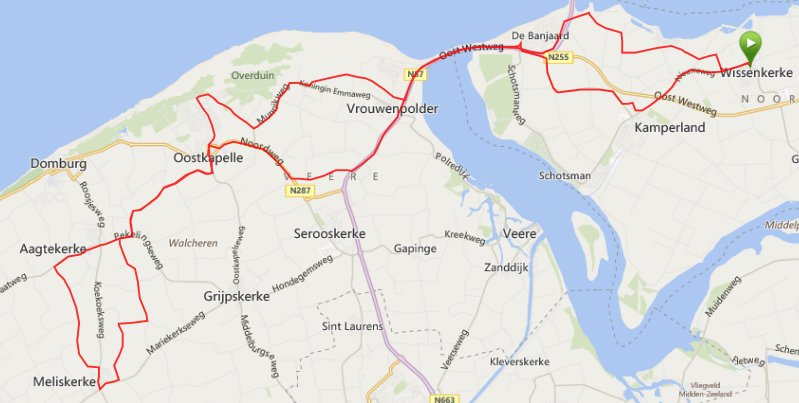 Donderdag 15-08-2014 Rondje Walcheren 56 km
