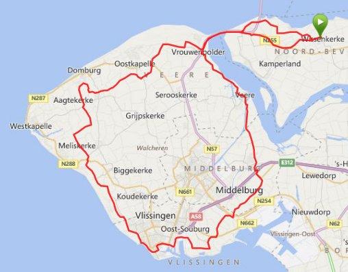 Zondagrit  08-06-2014 Walcheren 76 km 29,5 gem.