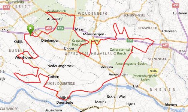 100 km route Terug over de Heuvelrug 30-03-2014