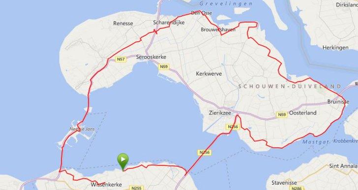 Zondag 24-08-14 Rondje Schouwen 94 km gem 31,2