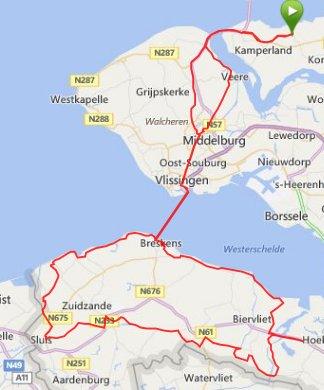 Lange Clubrit zondag 31-08-2014 Zeeuws Vlaanderen 146 km