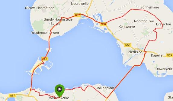 Donderdagavond 04-06-2015 Rondje Schouwen 66 km 32,2 gem