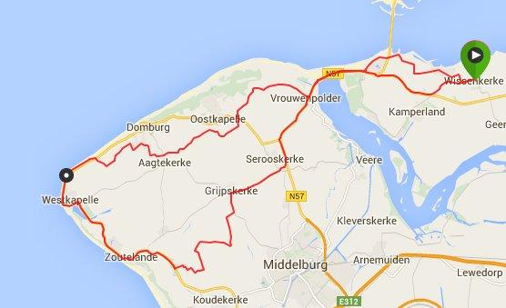 Rondje Walcheren 65 km 31,5 gemiddeld