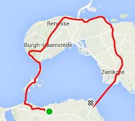 zondag 05-04-2015 rondje schouwen 71 km en 28 gemiddeld