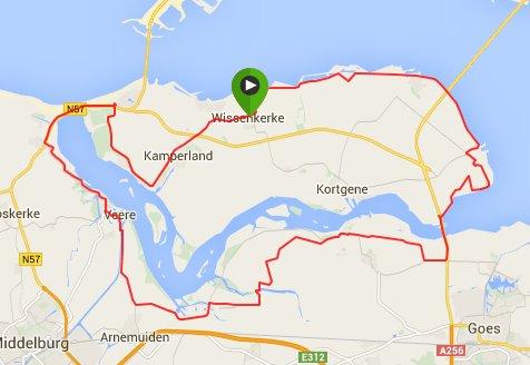 Rondje van 63 km.  Gemiddeld 29 km/u