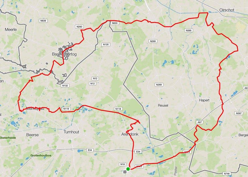 Route Zondag 11-09-2016 135 km