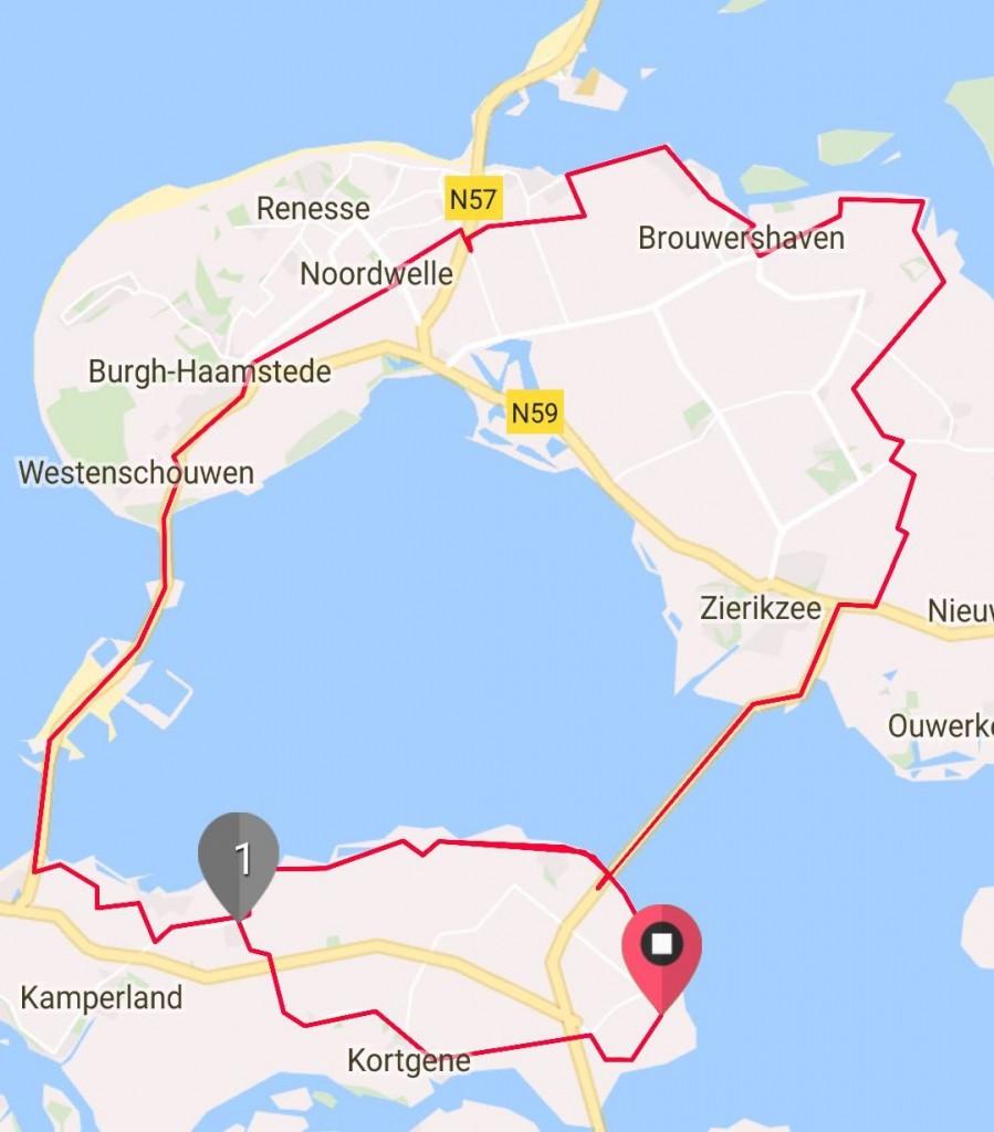 Dinsdag 8 augustus 74 km 29,1 gem.