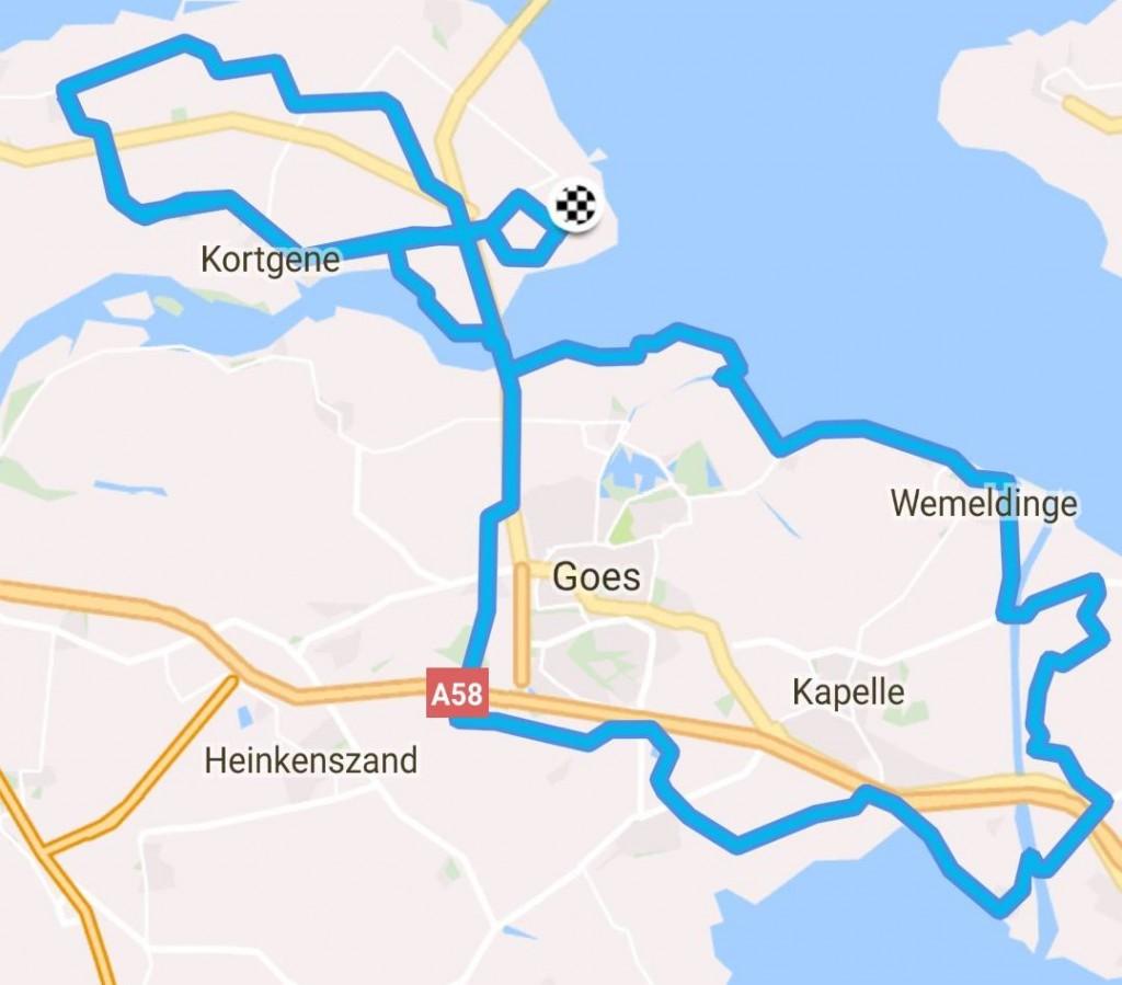 Dinsdag 18-07-17 route door Yerseke Moer 73 km