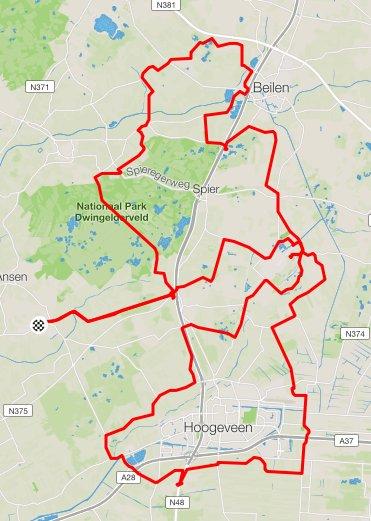 Route Zaterdag Green Mountain Toer 108 km