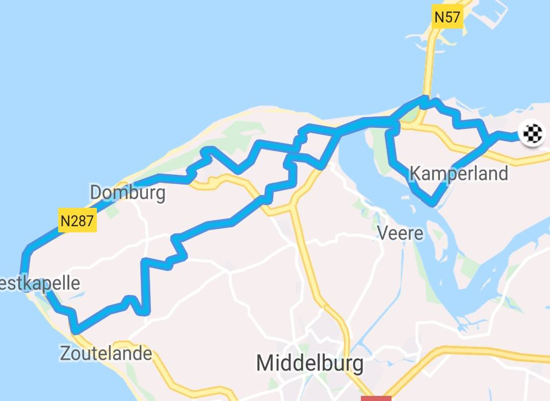 Dinsdag 23-10-2018    Rondje Walcheren 65 km