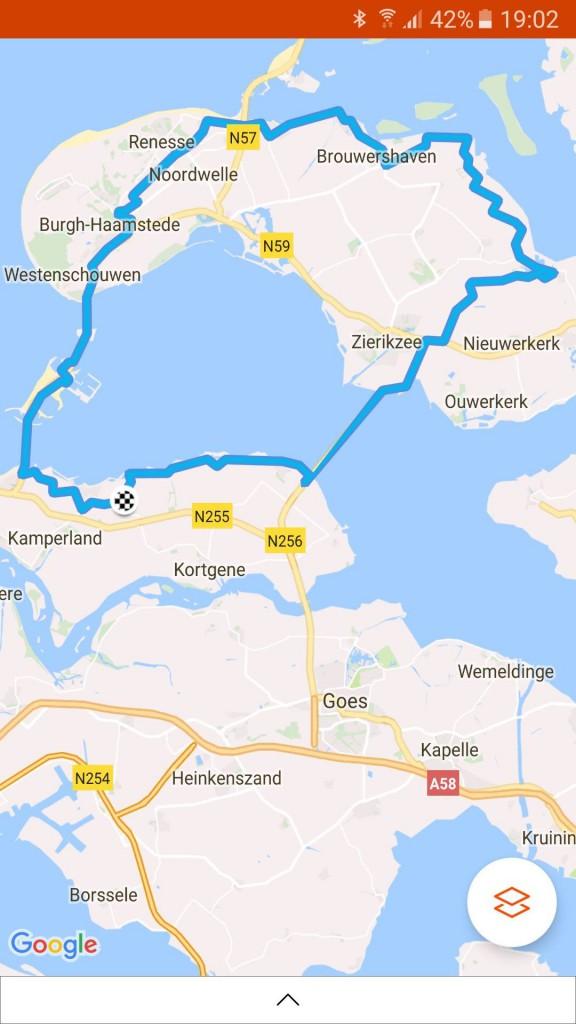 Rondje Schouwen 81 km 28,5 gem.